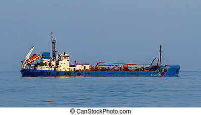 Oil products tanker in a sea