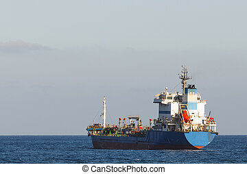 oil products tanker in the open sea