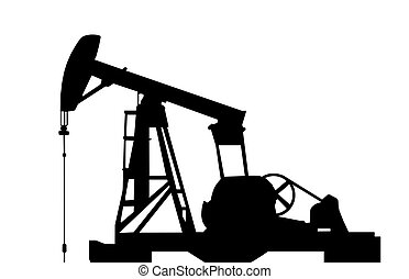 Oil pump - Black silhouette the oil pump on the white...