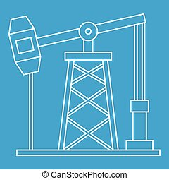 Oil pump icon, outline style - Oil pump icon blue outline...