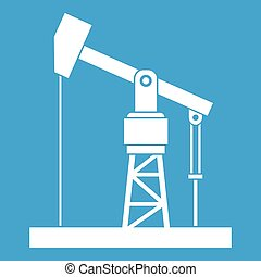 Oil pump icon white isolated on blue background vector...