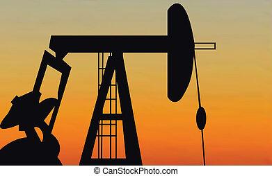 Oil Pump silhoutte in black against setting sun
