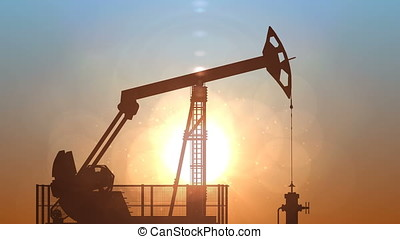 Oil pump jack against sunrise, loop - Oil pump jack against...