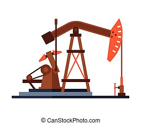Oil Pump Jack, Gasoline and Petroleum Production Industry Flat Style Vector Illustration on White Background