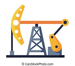 Oil Pump Jack, Oil Industry Production Equipment Flat Style Vector Illustration on White Background.