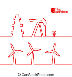 Oil pump jack silhouette design. Vector illustration.