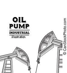Oil pump jack. - Oil pump jack silhouette design. Vector...