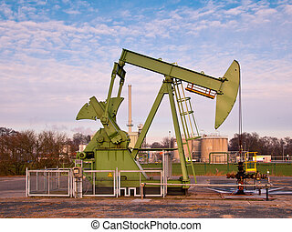 Oil Pump Jack - European Oil Pump Jack in Germany on a Sunny...