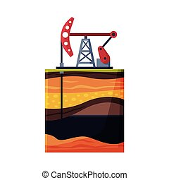 Oil Pump Jack Pumping Oil out of Borehole, Oil Industry Production Equipment Flat Style Vector Illustration on White Background
