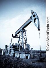 Oil pump jack. Selenium tone.