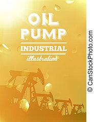 Oil pump jack silhouette design.
