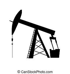 oil pump jack silhouette - oil pump jack icon in black...