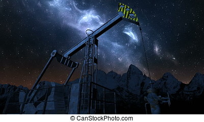 Oil pump jack under night sky - Oil pump jack under night...