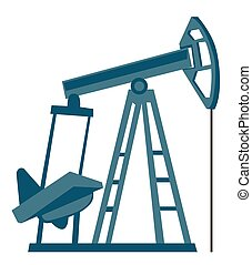 Oil pump jack vector cartoon illustration.