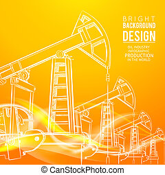 Oil Pump. - Oil Pump on orange background. Vector...