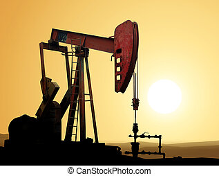 Oil pump - Working oil pump in deserted district at sunset