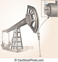 Oil Pump - Realistic Oil pump, vector illustration only...