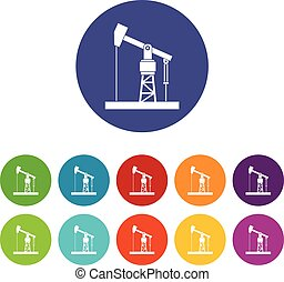 Oil pump set icons in different colors isolated on white...