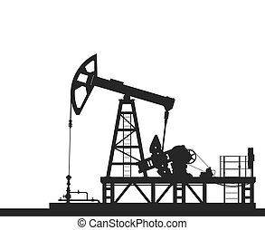 Oil pump silhouette isolated on white background. - Oil pump...
