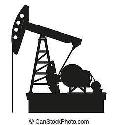 Oil pump - Silhouette of oil pump isolated on a white...