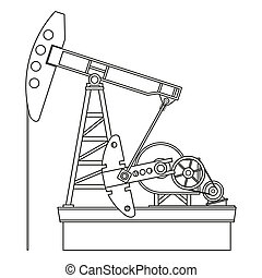 Oil pump - Silhouette of oil pump isolated on a white ...
