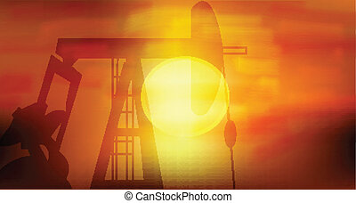 Oil Pump silhoutte in black against setting sun