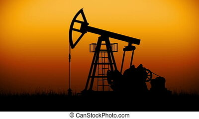 Oil Pump working at dark sunset sky. Looped Business and Technology 3d animation. HD 1080.