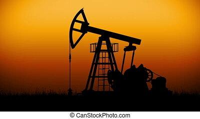 Oil Pump working at dark sunset sky