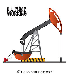 oil pump working, isolate on white background, vector...