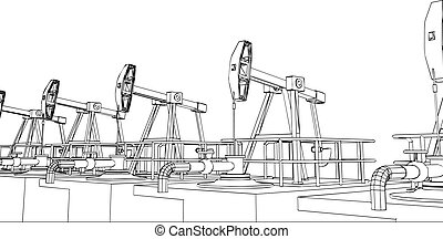 Oil pump working, isolate on white background. Vector...
