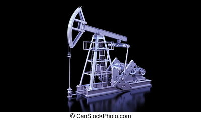 Oil Pump Working Isolated on Black Background. Business...