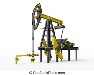 Oil Pumping Derrick on a white background