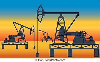 Oil pumpjack derricks