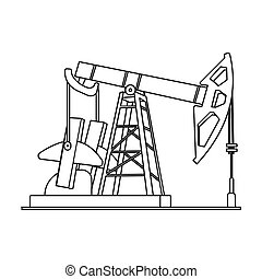 Oil pumpjack icon in outline style isolated on white background. Oil industry symbol stock bitmap, rastr illustration.