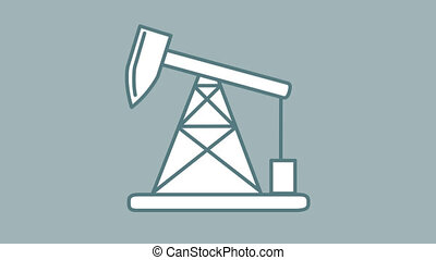 Oil Pumpjack line icon is one of the Oil and Gas Technology icon set. File contains alpha channel. From 2 to 6 seconds - loop.