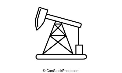 Oil Pumpjack line icon is one of the Population and Economy icon set. File contains alpha channel. From 2 to 6 seconds - loop.