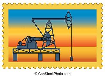 Oil pumpjack stamp