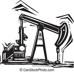 Woodcut Style image of an Oil industry oil well pumpjack pumping oil.