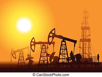Oil pumps and rig over sunset. Detail vector illustration.