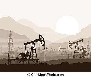 Oil pumps and rigs at oilfield over mountains. - Oil pumps...