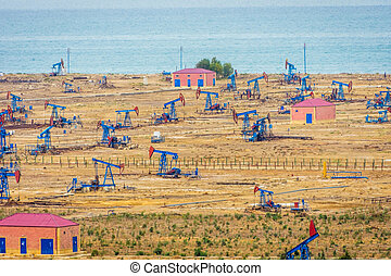 Oil pumps and rigs by the Caspian coast