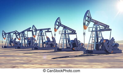 Oil Pumps at work in the desert.