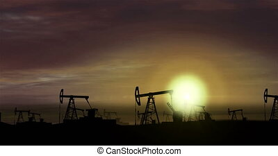 Oil pumps - oil extraction on sunset background 2 - Flight...