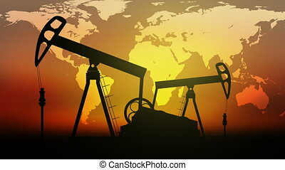 Oil Pumps on sunset and World map background.  Seamless loop video.