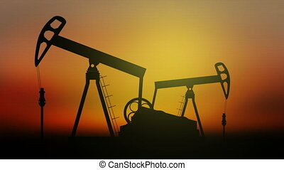 Oil Pumps on sunset background.  Seamless loop video.