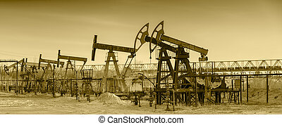 Oil pumps on a oil field. - Pump jack group and wellheads. ...