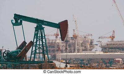 Oil Pumps, Pump jack. Fossil Fuel Energy, Old Pumping Unit