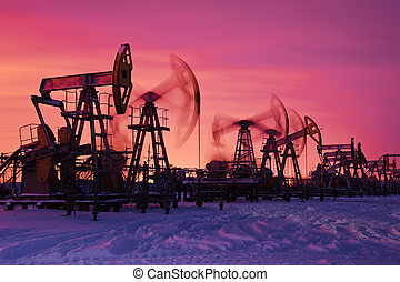 Oil pumps. - Oil and gas industry. Pump jacks at sunset sky...