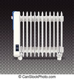 Oil radiator isolated on transparent background. White, electric oil filled heater on wheels. Vector, resizable icon of convector.
