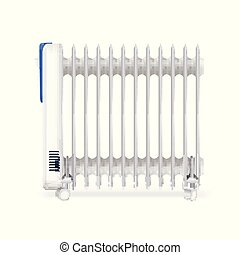 Oil radiator isolated on white background. White, electric oil filled heater. Vector, resizable icon of convector